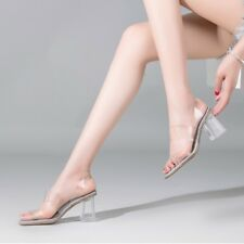 Womens Clear Slingback Chunky Block High Heels Sandals Slip On Peep Toe Shoes