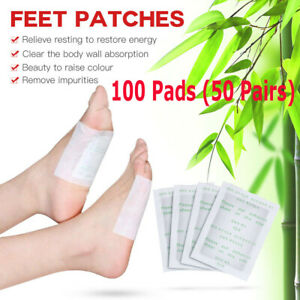 100pcs Detox Foot Pad Patches Remove Body Toxins Feet Slimming Cleansing Herbal