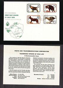 RHODESIA 1976 FDC WILD LIFE ANTELOPE HYENA WILD DOG CHEETAH CAT + INSERT