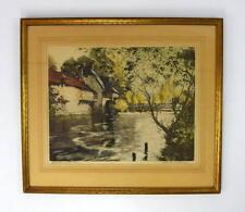 Vtg 1940 Paris Etching Society Framed Art Landscape Paul Emile LeComte Signed Lg