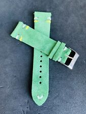 20mm GREEN Suede Vintage Leather Watch Strap Band DOUBLE Stitch US Fast Ship