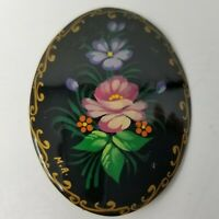 """Vintage Floral Hand Painted Russian Black Lacquered Wood Pin Brooch 2"""""""