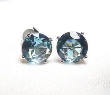 Blautopas Ohrstecker 925 Silber rhodiniert ca. 8 mm, runde, fac. Edelsteine neu