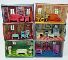 Vintage Louis Marx Honeymoon 6 Rooms With Furniture Tin Litho Playset Circa 1930