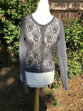 Grey Cardigan Hollister Size 12-14 Lace Front VGC G37