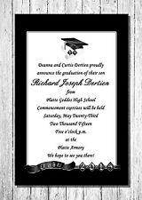 2015 Personalized Graduation Announcements - Black Silver Quantity 10