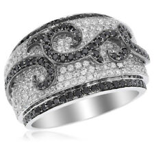 14K White Gold Pave Black Diamond Right Hand Cocktail Wide Band Ring