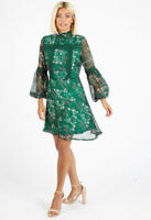 Womens Green Floral High Ruffle Neck Mini Going Out Dress
