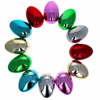 Set of 12 Multicolored Shiny Metallic Plastic Easter Eggs 3.05 Inches