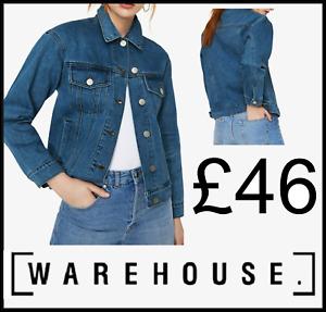 Warehouse Women Ladies Blue Button Boyfriend Jeans Denim Fitted Jacket Coat Top