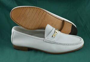 Men's SALVATORE FERRAGAMO 'Gold Gancini'  White Leather Loafers Size US 10 - 2E