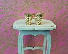 2 gilt gold metal goblets cup chalice 1:24th scale dolls house king castle