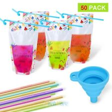 50PCS Drink Pouches Bags Stand Up Zipper Zip Lock Liquid Pouch with Straw&Funnel