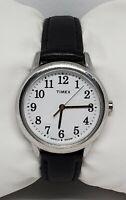 Ladies Timex Indiglo Silver Tone Black Leather Buckle Strap Analog Watch B2