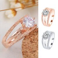 Femme Anneau Bagues Diamant Plaqué Cristal Strass Simple Or Rose Maariage Cadeau