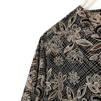 Notations Womens Size 24W Blouse Short Sleeve Button Front Floral Brown
