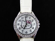Hello Kitty Watch  2013 With Crystal's White Leather Band