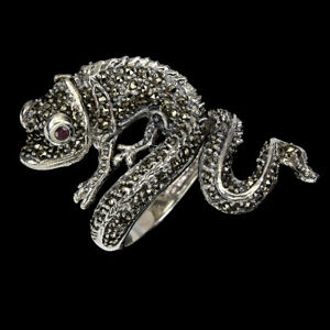 Heated Round Red Ruby 2mm Marcasite 925 Sterling Silver Chameleon Ring Size 7