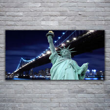 Leinwand-Bilder Wandbild Canvas Kunstdruck 120x60 Brücke Freiheitsstatue Skyline