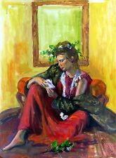 """Original life painting""""Woman with a Mirror""""by Qi Debrah,figurative,,Size""""18x24"""""""