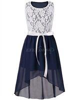 Girls Kid Sleeveless Summer Chiffon Floral Fashionable Maxi Dress Party Dresses