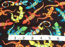 gekos lizard on black  Fabric 100% cotton fat quarters Timeless Treasures c3195