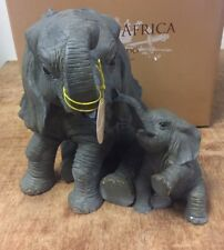 More details for large elephant and calf statue ornament bnib elephant lovers gift by leonardo