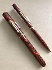Vintage Waterman 55 Fountain Pen/Pencil Flexible 14k Gold Nib Red Ripple Ebonite