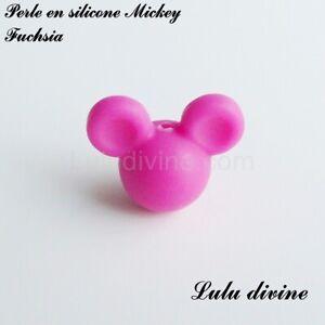 Perle en silicone ronde Mickey, silicone alimentaire : Fuchsia