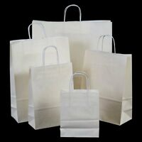 Luxury White Twisted Handle Kraft Paper Gift Carrier Bags Party Loot Weddings
