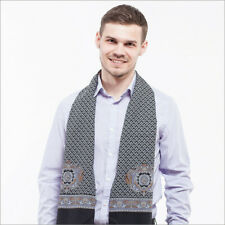 """Pavlovo Posad Black Scarf For Men 100% Wool Made in Russia 11x55"""""""