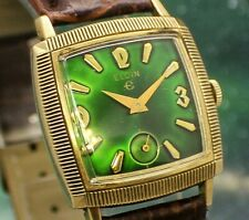 🔥Vintage mens 1955 Elgin WICKED GREEN TINT DIAL COIN EDGE BEZEL Art Deco Watch