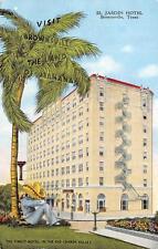 BROWNSVILLE, TX  Texas  EL JARDIN HOTEL-Man in Sombrero,  Linen 1948 Postcard