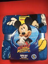 "Disney Mickey Mouse Super Soft Travel Blanket Blue 45""x55"" New"