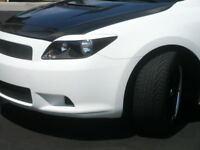 Scion tC Head light Eyelid Overlay   BLACK Aggressive Style