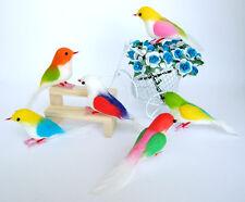6 ARTIFICIAL BIRDS ORNAMENTS FOAM FLORAL CRAFTS DECORATIVE WEDDING MULTI COLOR