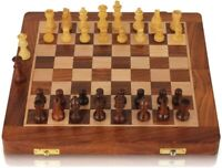 "12""  Wooden Magnetic Chess set Travel Acacia Wood Golden"
