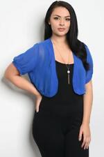 NEW..Beautiful Plus Size Blue Crop Bolero Shrug Cardi..Sz16/2XL