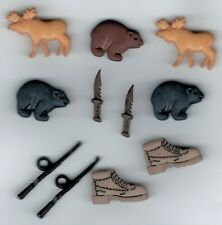 HUNTING BUTTONS Rifle Knife Boots Moose Bear Scrapbooking Card Making Stamping