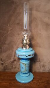 Petroleumlampe Öllampe Opal-Glas Manufaktur Gaudard Frankreich 56cm neuer Docht