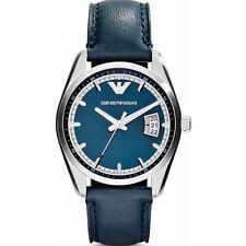 Emporio Armani AR6017 Blue Leather Silver Ladies Mens Unisex Watch