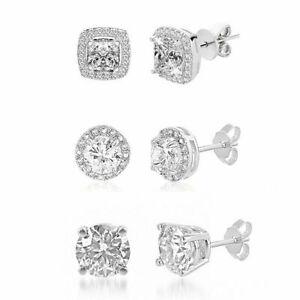 3 PACK SET 18K White Gold 925 Sterling Silver Stud Earrings For Women