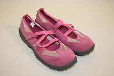 Lands End Womens Ladies Pink Suede Strappy Flats Casual Shoes Size 9