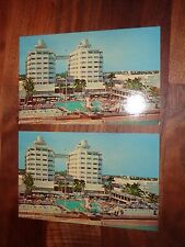 Vintage 1960s Pair of Sherry Frontenac Hotel Postcards Miami Beach - Great View!