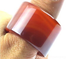 Natural Red/yellow/green/white agate jade Chalcedony hand carved thumb ring