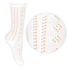 3 Pares - para niñas,color blanco hasta la rodilla Pelerine Calcetines Escolares