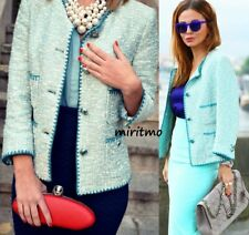ZARA GORGEOUS BLAZER BLUE EMBROIDERED JACQUARD CONTRAST JACKET LOVELY COAT - S