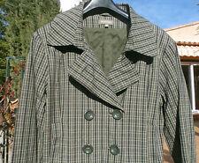 Manteau imperméable In Extenso rayé vert gris noir doré T 42 Etat Neuf !