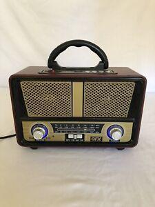 QFX RETRO-90 Vintage Style AM/FM/SW Radio +Bluetooth +AUX +USB Charging Port