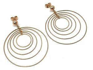 "Italian 14k Rose Gold Round Drop Dangle Earrings 2"" 3.8 grams"